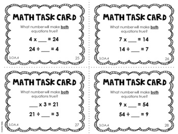 3.OA.4 3rd Grade Math Task Cards (Unknown Numbers in Equations)