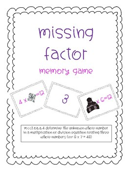 3.OA.4 {Finding Unknown} Winter Memory Game
