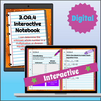 3.OA.4 Interactive Notebook: Multiplication and Division Equations⭐ Digital