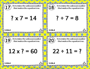 3.OA.4 Task Cards: Multiplication and Division Equations Task Cards 3.OA.4