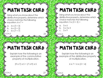 3.OA.5 3rd Grade Math Task Cards (Properties of Multiplication)