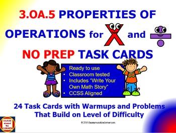 3.OA.5 Math 3rd Grade NO PREP Task Cards—PROPERTY OF OPERA