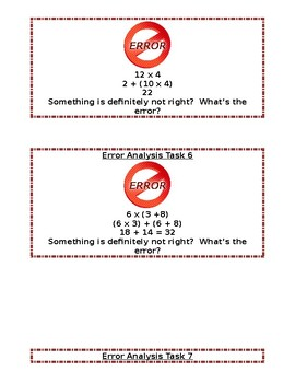 3.OA.5 Properties of Multiplication Error Analysis Task Cards