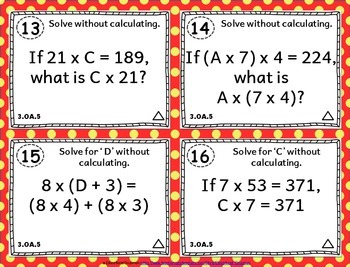 3.OA.5 Task Cards: Properties of Operations Task Cards 3.OA.5: Multiply & Divide