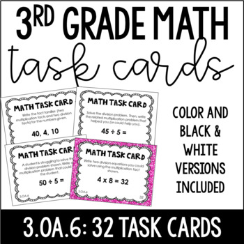 3.OA.6 3rd Grade Math Task Cards (Division as Unknown Factor Problem)