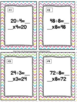 Easter Themed Division Relative to Multiplication Task Cards & Game 3.OA.6