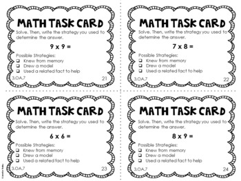 3.OA.7 3rd Grade Math Task Cards (Multiplication and Division Fact Fluency)