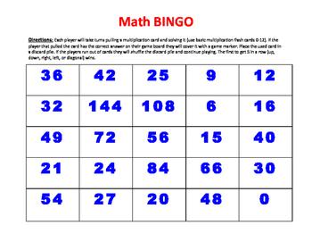 3.OA.7 Multiplication BINGO