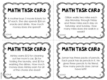 3.OA.8 3rd Grade Math Task Cards (Two-Step Word Problems)