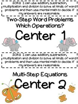 3.OA.8 -Task Cards, Assessments, Centers and More