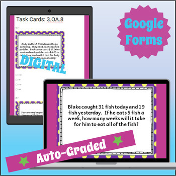 ⭐SELF-GRADED⭐3.OA.8 Task Cards⭐Two-Step Word Problems, Equations & Estimations