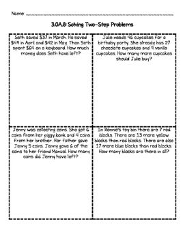 3.OA.8 Solving Two Step Word Problems worksheets