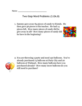 3.OA.8 Two-Step Word Problems