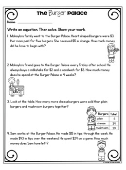 3.OA.8 Valentines Math Two Step Word Problems