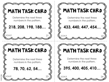 3.OA.9 3rd Grade Math Task Cards (Patterns)