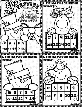 3.OA.9 Christmas Addition Function Tables Input Output Task Cards