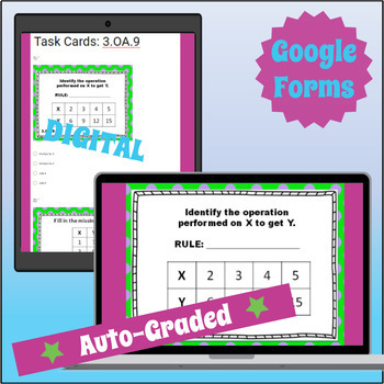 ⭐ AUTOMATICALLY GRADED ⭐ 3.OA.9 ⭐ Task Cards Arithmetic Patterns