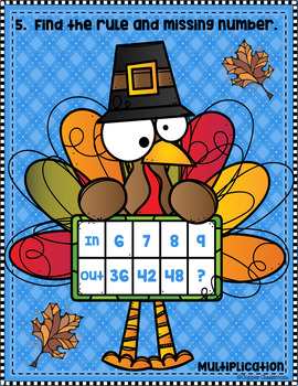 3.OA.9 Thanksgiving Function Tables Input Output Multiplication Task Cards