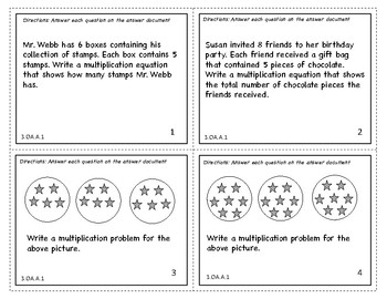 3.OA.A.1 INTERPRET PRODUCTS OF WHOLE NUMBERS TASK CARDS