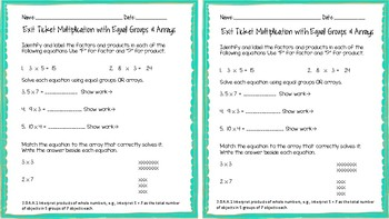 3.OA.A.1 Products of Whole Numbers Exit Ticket