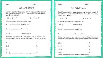3.OA.A.2 Interpret Whole Number Quotients Division Exit Ticket
