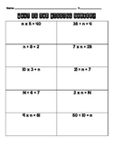 3.OA.A.3 Missing Number Worksheet