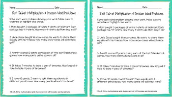 3.OA.A.3 Multiplication and Division Word Problems Exit Ticket