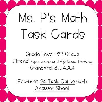 3.OA.A.4 Determine the Unknown Factor Task Cards