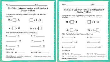 3.OA.A.4 Unknown Number in Multiplication and Division Problems