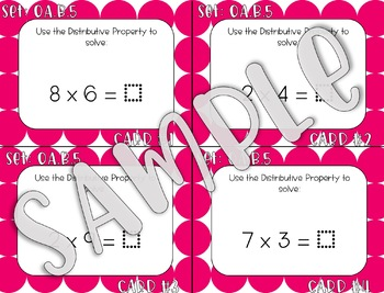 3.OA.B.5 Distributive Associative and Commutative Properties Task Cards