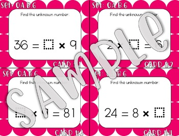3.OA.B.6 Division Unknown Factor Task Cards