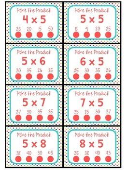 3.OA.C.7 - Poke the Product BUNDLED SET of Multiplication Poke Cards