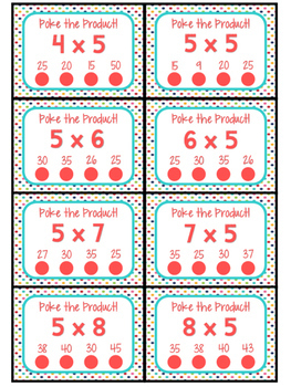3.OA.C.7 - Poke the Product with 5 as a Factor! Multiplication Poke Cards