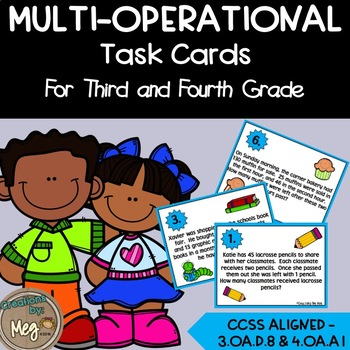 3.OA.D.8 Multi-Step Word Problem Math Task Cards For Third and Fourth Grade