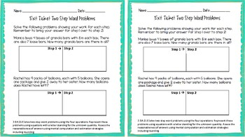 3.OA.D.8 Two Step Word Problem Exit Ticket