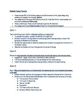 3 Options for Macbeth Essays