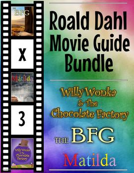 3 Pack Bundle - Roald Dahl Movie Guide Questions + Extra Activities
