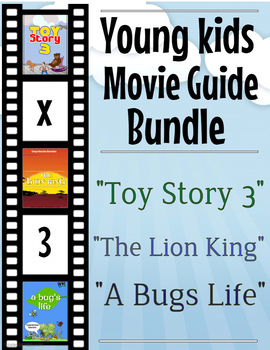 3 Pack Bundle - Young Kids Movie Guide Questions + Activities