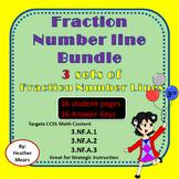 Fraction Number Line  Bundle   improper equivalent parts of set (3 pack)