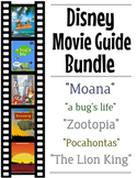 5 Pack Bundle - Disney Movie Guide Questions + Activities - Answer Keys Included