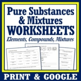3 Pages Pure Substances & Mixtures Unit Review Worksheet NGSS MS-PS1-1 MS-PS1-8
