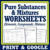 Classifying Matter: 3 Pages Pure Substances & Mixtures Unit Review Worksheet