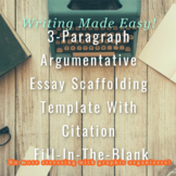 3 Paragraph Argumentative Essay Scaffold With Citation Fil