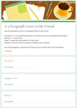 3 Paragraph Letter to A Friend - Google Form Template and Digital PDF