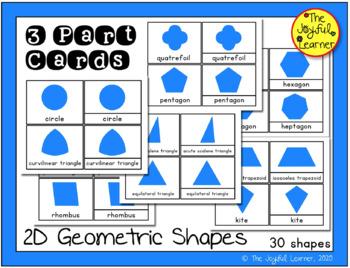Montessori Geometric Shape Cards 3 Parts Cards