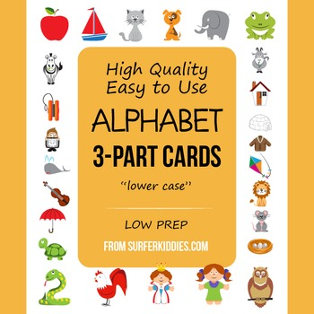 3-Part Cards for Alphabet, English, Lower Case, a - z