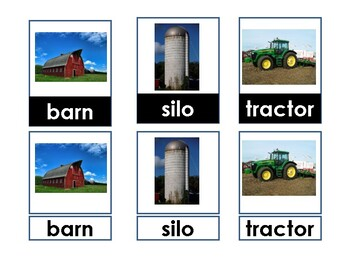 3-Part cards Nouns and Verbs using visual cues