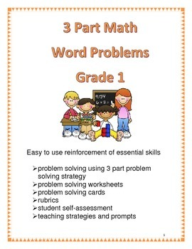 3 Part Math Word Problems for Grade 1
