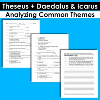 3 Part Mythology Quiz: Theseus, Daedalus & Icarus, & Analyzing Common Themes