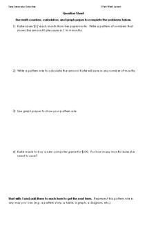 3 Part Patterning & Algebra Math Lesson